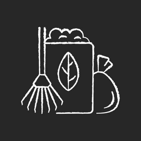 Yard waste collection chalk white icon on black background. Organic waste from residential lawns and gardens. Grass clippings, leaves, branches. Isolated vector chalkboard illustration Illusztráció