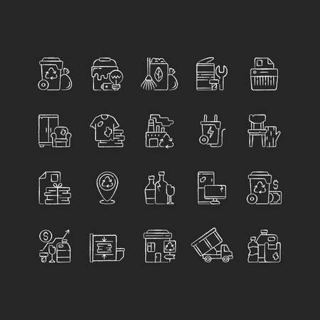 Waste management chalk white icons set on black background. Residential waste collection. Paper shredding. Grass clippings, leaves, branches. Bulky refuse. Isolated vector chalkboard illustrations