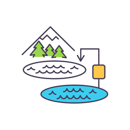 Using electric power systems for load balancing RGB color icon. Pumped hydroelectric energy storage. Stored water in turbines to produce electric power. Isolated vector illustration