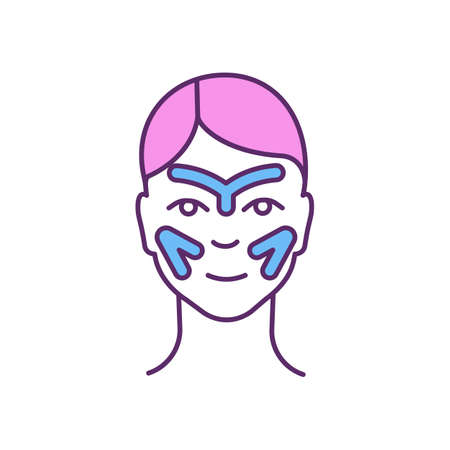 Face tapes RGB color icon. Anti-aging cosmetic procedure. Fine lines and wrinkles reduction. Skin smoothing. Non-surgical facial enhancements. Treating skin damage. Isolated vector illustration