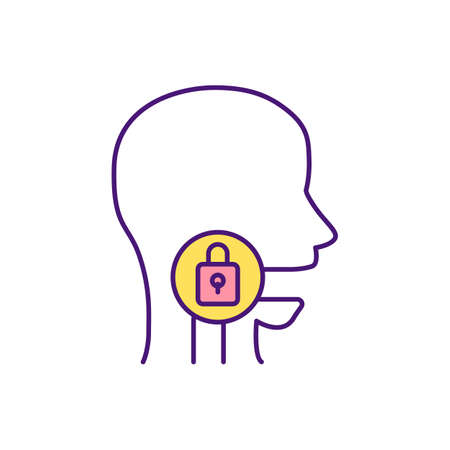 Difficulty swallowing RGB color icon. Problem with throat and esophagus. Dysphagia. Inability for swallowing foods, liquids. Gullet problem. Coughing, choking. Isolated vector illustration Vector Illustration