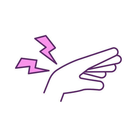 Chronic wrist pain RGB color icon. Swelling reduction. Dull, aching pain. Sprains, fractures from injuries. Chronic cramping. Arthritis and carpal tunnel syndrome. Isolated vector illustration