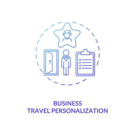 Business travel personalization concept icon. Pandemic adaptation. Business trip during covid pandemic idea thin line illustration. Travel service optimize. Vector isolated outline RGB color drawing