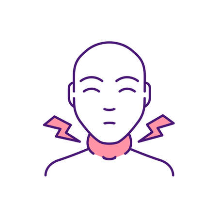 Swollen lymph nodes RGB color icon. Tonsils swelling and redness. Inflammation in throat. Tonsillitis, pharyngitis. Viral infection. Sore throat. Difficulty swallowing. Isolated vector illustration