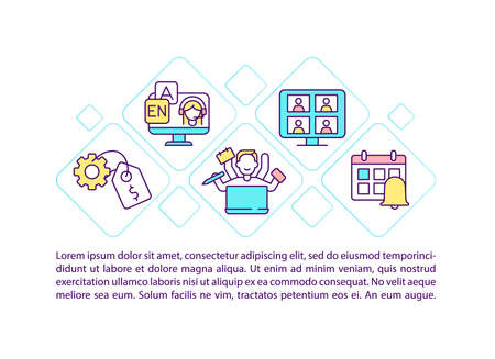 Online language courses concept icon with text. Getting new knowledge remotely during online classes. PPT page vector template. Brochure, magazine, booklet design element with linear illustrations Vector Illustration