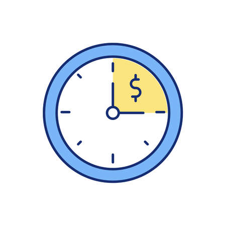 Working hours RGB color icon. Additional overtime payments. Regular pay rates. Working time limit. Extra hours. Normal hourly payments. Receiving overtime pay. Isolated vector illustration Ilustración de vector