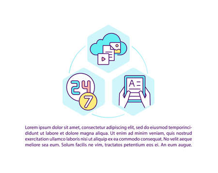 Online language courses concept icon with text. Special learning with remote technology. PPT page vector template. Brochure, magazine, booklet design element with linear illustrations Vector Illustration