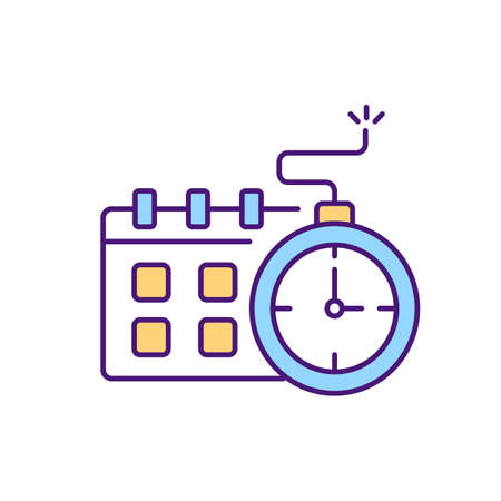 Time expiring contract RGB color icon. Limited time document agreement process. Review rules of coolaboration in specific period. Discussing all points of services. Isolated vector illustration Векторная Иллюстрация