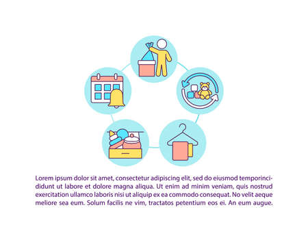 Teaching kids good habits concept icon with text. Teach your kids where things belong to be. PPT page vector template. Brochure, magazine, booklet design element with linear illustrations