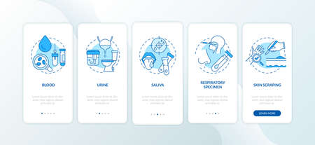 Laboratory samples onboarding mobile app page screen with concepts. Blood from veins, capillaries, body fluids walkthrough 5 steps graphic instructions. UI vector template with RGB color illustrations