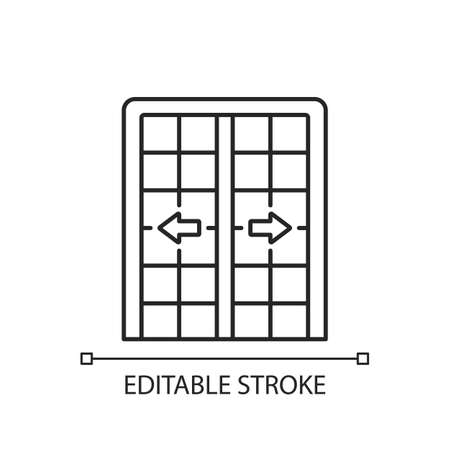 Patio doors linear icon. Sliding glass door. Architecture, construction. Large window opening. Thin line customizable illustration. Contour symbol. Vector isolated outline drawing. Editable stroke