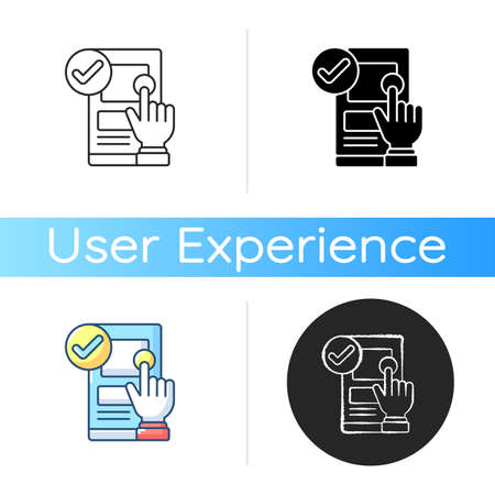 Usability icon. Ease-of-use improvement. User interaction with product, website. Increasing customer experience quality. Linear black and RGB color styles. Isolated vector illustrations