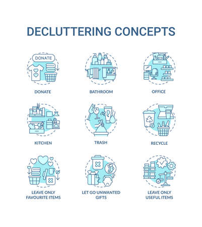 Decluttering concept icons set. Trash and recycling idea thin line RGB color illustrations. Letting go unwanted presents. Donation. Vector isolated outline drawings. Editable stroke