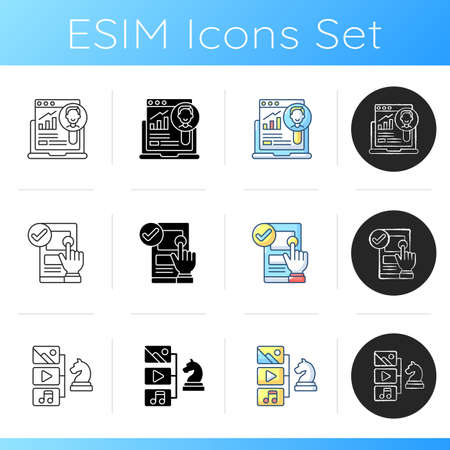UX design icons set. User research. Ease-of-use improvement. Content strategy. Studying customers needs. Content planning, management. Linear, black and RGB color styles. Isolated vector illustrations