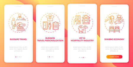 Business travel trends onboarding mobile app page screen with concepts. Sharing economy, bleisure walkthrough 4 steps graphic instructions. UI vector template with RGB color illustrations Vektorové ilustrace