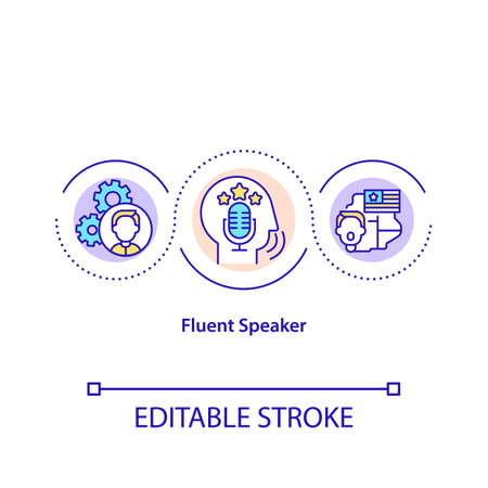 Fluent speaker concept icon. Person who is very comfortable with language. Types of language knowledge idea thin line illustration. Vector isolated outline RGB color drawing. Editable stroke