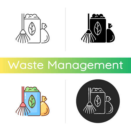 Yard waste collection icon. Organic waste from residential lawns and gardens. Grass clippings, leaves, branches. Seasonal schedule. Linear black and RGB color styles. Isolated vector illustrations