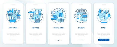 Decluttering categories onboarding mobile app page screen with concepts. Purring away things. Simplify life walkthrough 5 steps graphic instructions. UI vector template with RGB color illustrations
