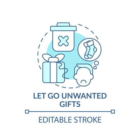 Letting go unwanted gifts concept icon. Declutter and minimizing rubbish in house idea thin line illustration. Enjoy of belonging things. Vector isolated outline RGB color drawing. Editable stroke