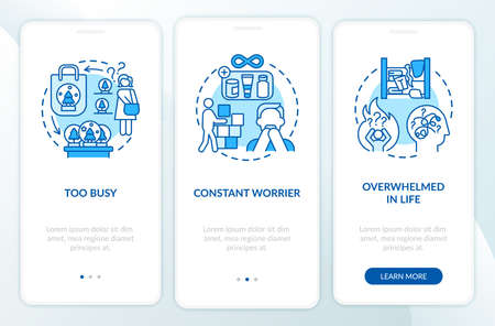Clutter personality types onboarding mobile app page screen with concepts. Too busy person walkthrough 3 steps graphic instructions. UI vector template with RGB color illustrations