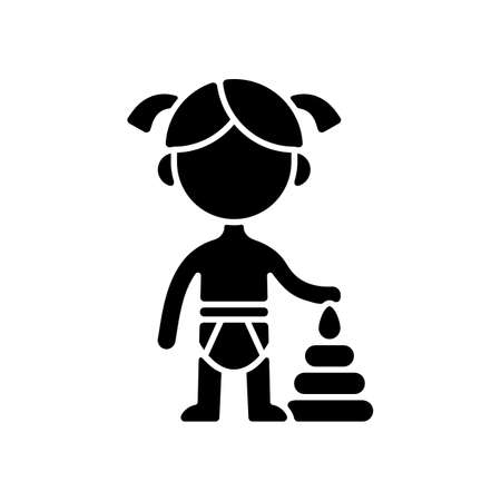 Female toddler black glyph icon. Toddlerhood. Preschool years. Cognitive, emotional and social development. 12 to 36 months old child. Silhouette symbol on white space. Vector isolated illustration