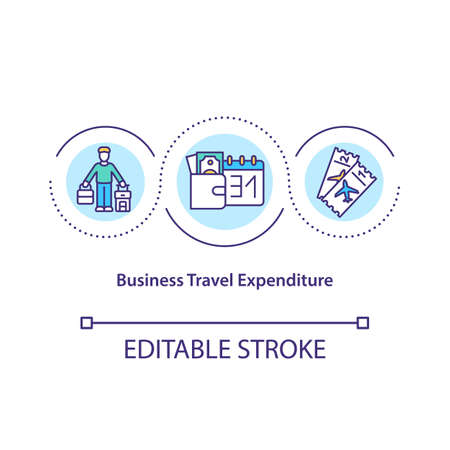 Business travel expenditure concept icon. Costs incurred of traveling for business purposes idea thin line illustration. Official journey. Vector isolated outline RGB color drawing. Editable stroke