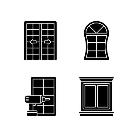 Replacement door opportunity black glyph icons set on white space. Patio doors. Unique styles and features. Home improvement. Decorative trim. Silhouette symbols. Vector isolated illustration