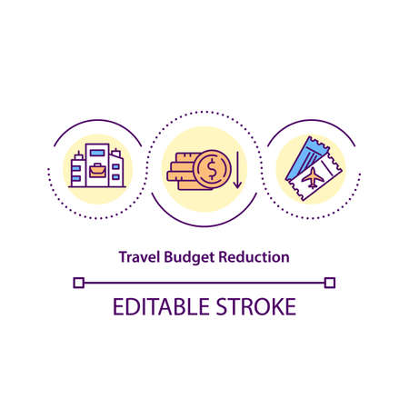 Travel budget reduction concept icon. Save on cost of employee business travel idea thin line illustration. Reduced corporate costs. Vector isolated outline RGB color drawing. Editable stroke