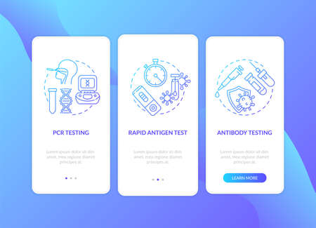 Coronavirus testing types onboarding mobile app page screen with concepts. Viral antigen detection, rapid test walkthrough 3 steps graphic instructions. UI vector template with RGB color illustrations Vettoriali