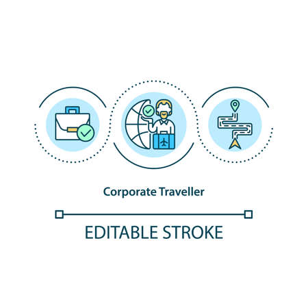 Corporate traveler concept icon. Travel primary of business-related idea thin line illustration. Employees traveling to conference. Vector isolated outline RGB color drawing. Editable stroke Ilustración de vector