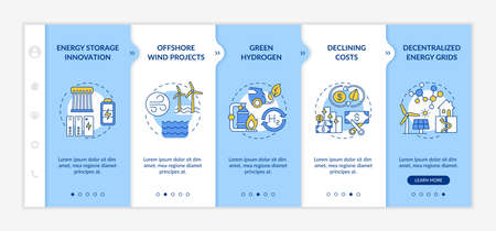 Wind-power turbines vector infographic template. Renewable energy technologies presentation design elements. Data visualization with 5 steps. Process timeline chart. Workflow layout with linear icons