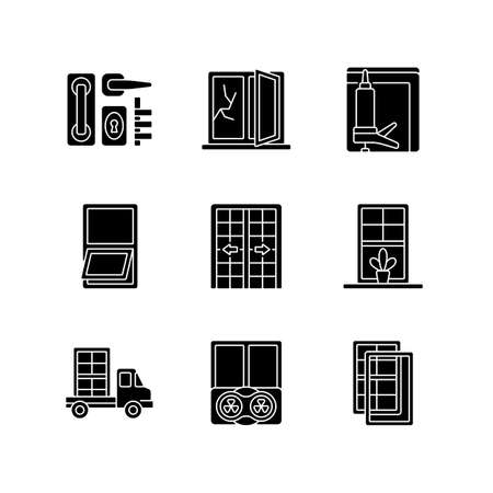 Window and door installations black glyph icons set on white space. Locks and levers. Fixing cracked sills and glass. Insulating barrier creation. Silhouette symbols. Vector isolated illustration