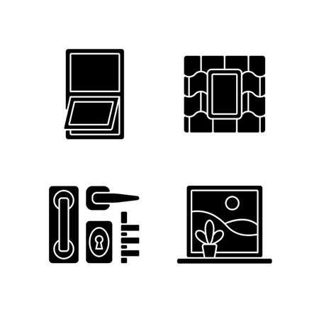 Windows replacement service black glyph icons set on white space. Awning windows. Venting skylight. Door hardware. Opening outward from bottom. Silhouette symbols. Vector isolated illustration Vettoriali