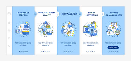 Hydropower vector infographic template. Source of electricity and storage presentation design elements. Data visualization with 5 steps. Process timeline chart. Workflow layout with linear icons