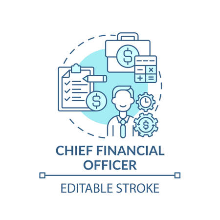Chief financial officer concept icon. Top management positions. Managing financial actions of company. Job idea thin line illustration. Vector isolated outline RGB color drawing. Editable stroke