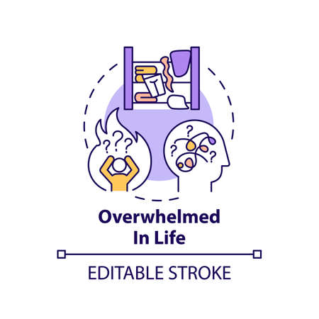 Overwhelmed in life concept icon. Not wanting to get rid of unnecessary things idea thin line illustration. Living in chaos. Vector isolated outline RGB color drawing. Editable stroke