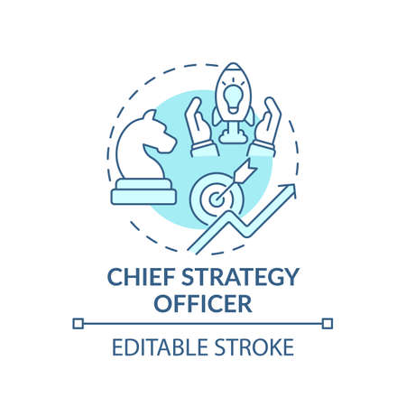 Chief strategy officer concept icon. Top management positions. Developing corporate opportunities. Business idea thin line illustration. Vector isolated outline RGB color drawing. Editable stroke Ilustración de vector