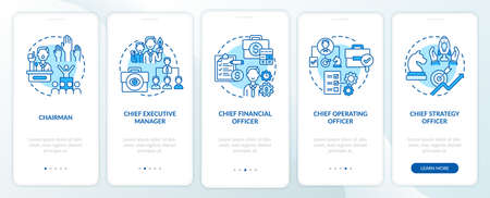 Top management positions onboarding mobile app page screen with concepts. Chief financial officer walkthrough 5 steps graphic instructions. UI vector template with RGB color illustrations