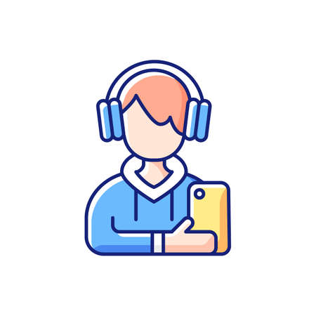 Teenage boy RGB color icon. Male teenager. Adolescence. Emotional development. School stress, peer problems. Mood swings. Growth spurts, puberty changes. Low self-esteem. Isolated vector illustration