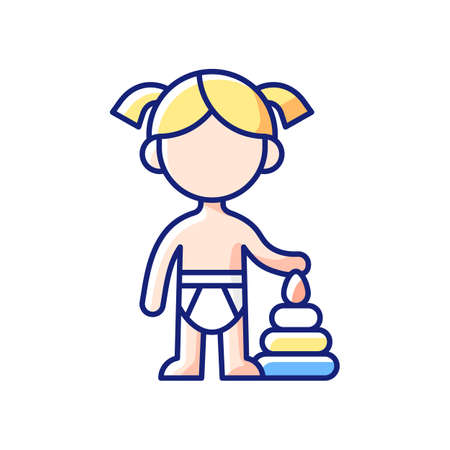 Female toddler RGB color icon. Toddlerhood. Preschool years. Cognitive, emotional and social development. 12 to 36 months old years child. Age-related growth. Isolated vector illustration  イラスト・ベクター素材