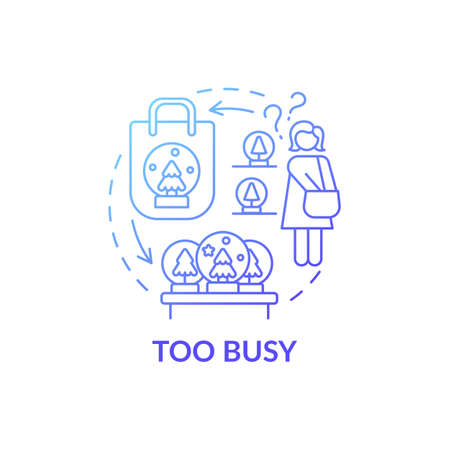Too busy person blue gradient concept icon. People purchsing unnecessary things idea thin line illustration. Clutter personality types. Holiday. Vector isolated outline RGB color drawing