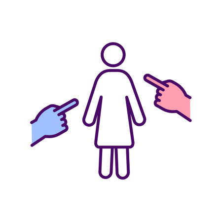 Women discrimination RGB color icon. Victim blaming. Discriminating against and attacking women. Abusive relationships. Emotional harm. Violence against female. Isolated vector illustration
