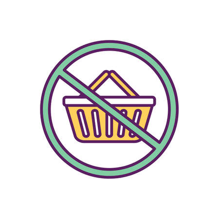 Reducing unnecessary consumption RGB color icon. Buying too much stuff. Shopping addiction. Escaping consumerism. Goods, services purchasing. Compulsive shopping avoiding. Isolated vector illustration