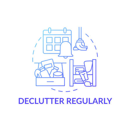Declutter regularly blue gradient concept icon. Habits to prevent clutter idea thin line illustration. Carrying about household. Tidying and cleaning. Vector isolated outline RGB color drawing Иллюстрация
