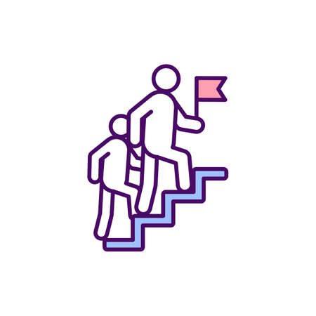 Career growth RGB color icon. Organization ladder. Evolving occupational status. Career advancement opportunities. Professional development and progress. Isolated vector illustration