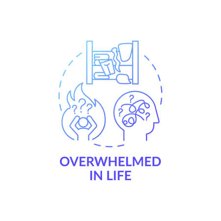 Overwhelmed person in life blue gradient concept icon. Without wanting to get rid of unused items idea thin line illustration. Living in chaos. Vector isolated outline RGB color drawing
