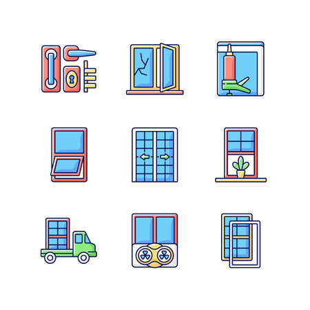 Window and door installations RGB color icons set. Fixing cracked sills, glass. Insulating barrier creation. Construction material delivery. Controlling air ventilation. Isolated vector illustrations