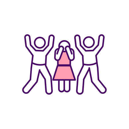 Sexism RGB color icon. Violence and abuse against women. Prejudice against women and girls. Female harassment. Sexist assumptions. Physical assault, stalking. Isolated vector illustration