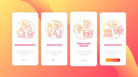 Routine physical exams age groups onboarding mobile app page screen with concepts. Newborns, elderly patients walkthrough 4 steps graphic instructions. UI vector template with RGB color illustrations