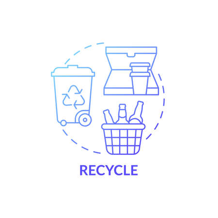 Recycle blue gradient concept icon. Container for things items idea thin line illustration. Recycled items. Paper, plastic, and glass. Cleaning-out house. Vector isolated outline RGB color drawing